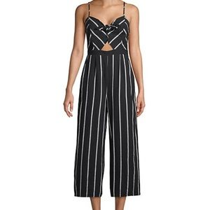 ASTR Striped Bow Cotton Jumpsuit with Pockets